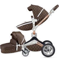 3 in 1 Leather Hot Mom Trolley High Landscape Folding Chair 360 Degree Rotation Luxury Trolley with Basset